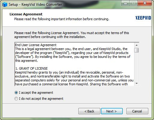 Intall KeepVid Video Converter - read license agreement and browse destination folder